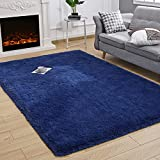 Kelarea Super Soft Shaggy Rug Fluffy Bedroom Carpets, 3x5 Feet Navy Blue, Modern Indoor Fuzzy Plush Area Rugs for Living Room Dorm Home Decorative Kids Girls Children's Floor Rugs