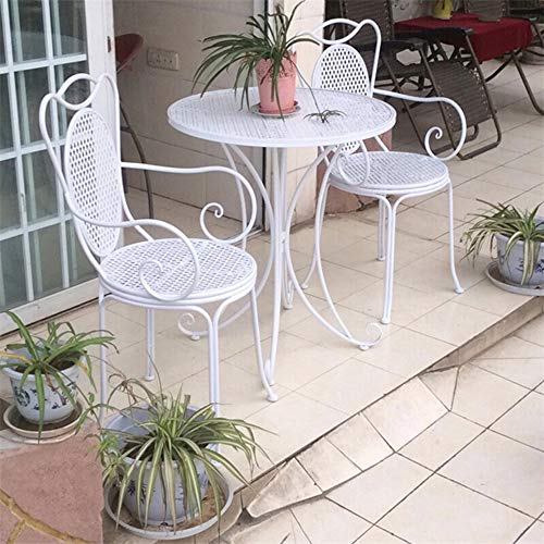 household products Outdoor terrace garden table and chair 3-piece set, rust-proof iron art outdoor leisure furniture table and chair, round table and chair with backrest, for villa/balcony/lawn/pub