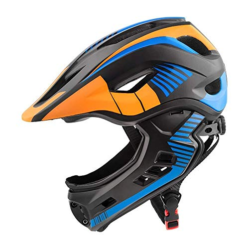 T-Mark Sicherheitsschutz Helm Kinder Vollvisierhelm REIT Schmutzige Fahrradhelm mit Rücklicht abnehmbaren Kinn Leichter Kinder Helmen (Farbe: Gelb-Free) Einstellbare Größe (Color : YellowFree)