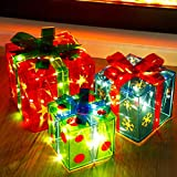 ATDAWN Set of 3 Lighted Gift Boxes Christmas Decorations, Snowflake Star Pre-lit Present Boxes, Christmas Home Gift Box Decorations