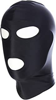 Amosfun Adults Blindfold Mask Elastic Breathable Open Eyes Open Mouth Face Cover Mask Cosplay Costume Hood - Size M(Black)