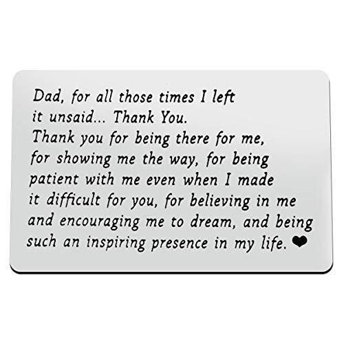 Fathers Day Gift to My Dad Engraved Wallet Insert Card, Thank You Dad Gift,I Love You Dad,Best Dad Gifts for Men,Dad Birthday Gifts from Kids,Dad Wallet Insert Love Note Card for Dad from Daughter/Son