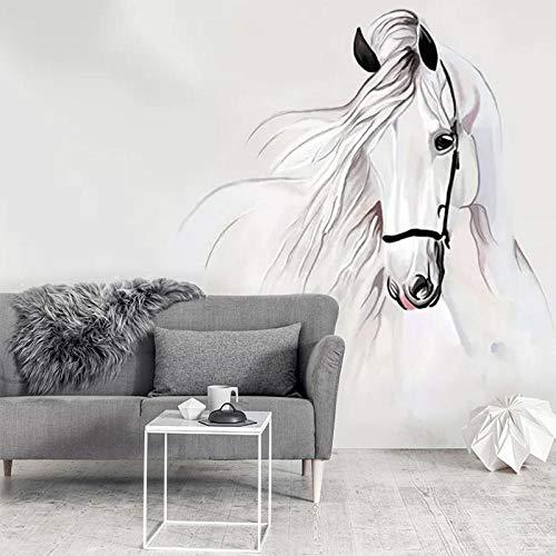 VGFGI Vinilo autoadhesivo moderno pared moderna pintado a mano caballo blanco restaurante abstracto decoración del hogar oficina