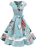 Gardenwed Vintage Vestidos Coctel Corto 50s Vestido de la Fiesta para Mujer Floral S