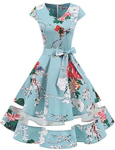Gardenwed 1950er Vintage Retro Rockabilly Kleider Petticoat Faltenrock Cocktail Festliche Kleider Cap Sleeves Abendkleid Hochzeitkleid Floral M