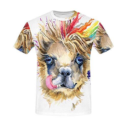 InterestPrint Fashion Watercolor Llama Animal Art Classic Short-Sleeve All Over Print Men's T-Shirt