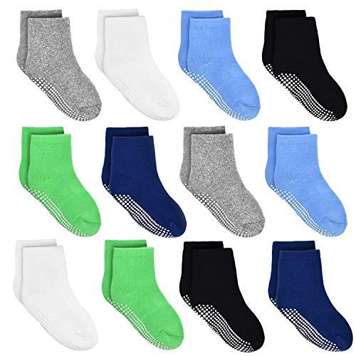 HYCLES Calcetines ABS para niños – 12 pares de calcetines antideslizantes para bebés de 1 a 3 años, color negro, azul marino, blanco, hierba verde, gris claro y azul