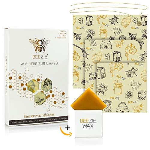 BEEZIE™ - Wiederverwendbare Wachstücher für Lebensmittel - Wachspapier in 3 Größen inkl. Reparatur-Wachs - Plastikfreie Bio-Bienenwachstücher für Brot, Obst, Gemüse, Popcorn, Käse, Gebäck (S, M, L)
