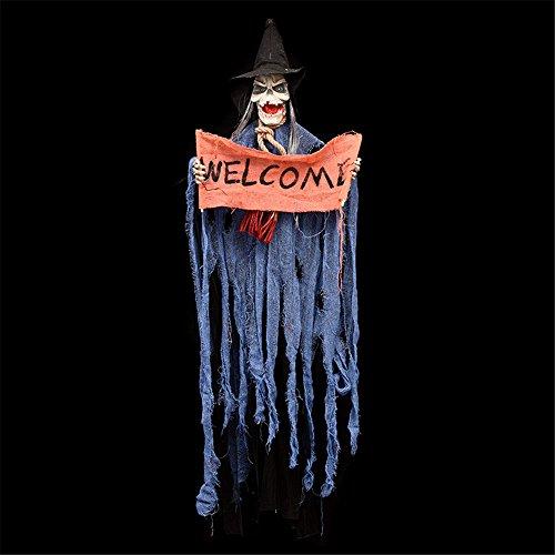 Yhooee Halloween-ornamenten Haunted Ghost Horror Miedo Schedel elektrisch hangend Prop Electric Room Bar Party Props Design podiumspeelgoed, blauw