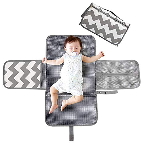 SNOWIE SOFT® Baby Changing Mat, Changing Pad with Head Cushion & Organizer Pockets, Changing Station, Foldable Waterproof Clean for Home Travel Outside
