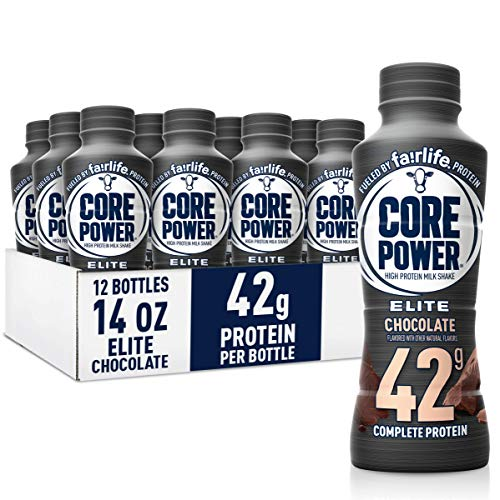 Core Power Elite High Protein Shakes (42g), Chocolate, Ready to Drink for Workout Recovery, 14 fl oz Bottles (12 Pack) - SET OF 2