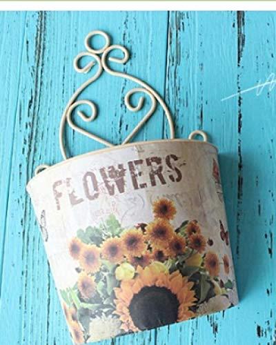 Vase Wandmontage Kunststoff Blumenkorb Landgarten Garten Hausdekoration Blumentopf-Sonnenblume