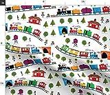 Spoonflower Stoff - Züge Weiß Regenbogen Kindergarten Zug