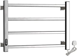 40W Heated Towel Warmer, Stainless Steel Wall-Mounted Heated Towel Rail with Timer, Hardwired and Plug in Options, Polished