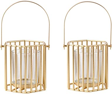 Lovecat Set of 2 Hollow Gold Candle Holders, Metal Candlesticks, Geometric Candle Stands, Home Wedding Decor Candleholders, T