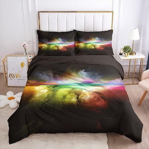 QDoodePoyer Biancheria da letto - Colorato cielo nuvole aurora set di biancheria da letto set da 3 pezzi copripiumino con chiusura lampo in microfibra 135x200cm 2 federe 65 x 65 cm