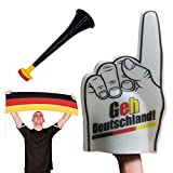 Fun Fan Line - Animationsset für Fußball- und Sportveranstaltungen. Vuvuzela Laute Trompete + deutsche Flagge + Riesenschaum Hand. Ideal für Stadien und Partys. (Deutschland)
