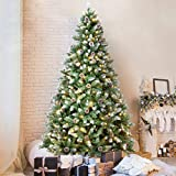 OasisCraft 7.5 FT Snow Flocked Christmas Tree with 350 LED Lights, Artificial Snowy Xmas Tree Pine...