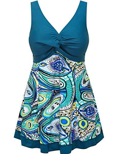 Wantdo Women's Modest Swimsuit Bathing Suit Beachwear Plus Size Green US 22W-24W