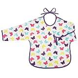 AKUKU Baby Lätzchen mit Ärmeln | abwaschbar wasserdicht Stoff | Schmetterlinge rosa lila bunt | ab 6 Monate bis 2 Jahre | Mädchen | Ärmel-Lätzchen zum Binden | Langarmlätzchen | Latz mit Arme