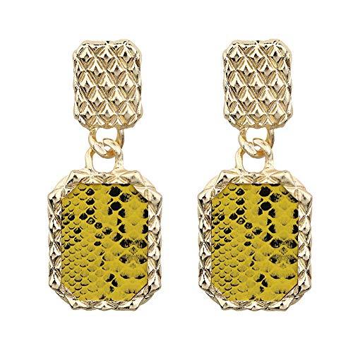 Exclusivamente para lentejuelas de metal, pendientes en forma de serpiente, moda callejera, estilo callejero, joyería de oreja de pasarela, amarillo