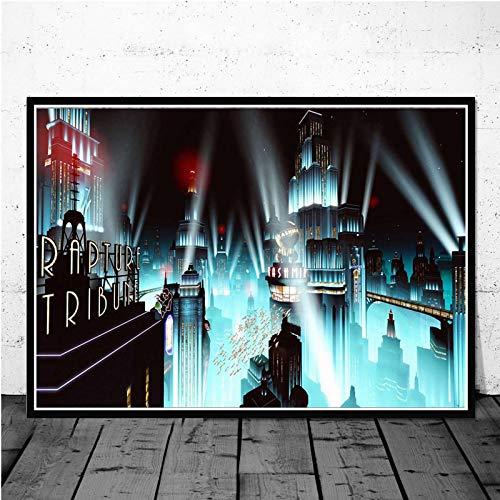 xiangpiaopiao Carteles E Impresiones De Videojuegos De Secuestro Bioshock Pintura Cuadros De Pared para Sala De Estar Arte Vintage Decorativo para El Hogar 40X50Cm 7G-1045