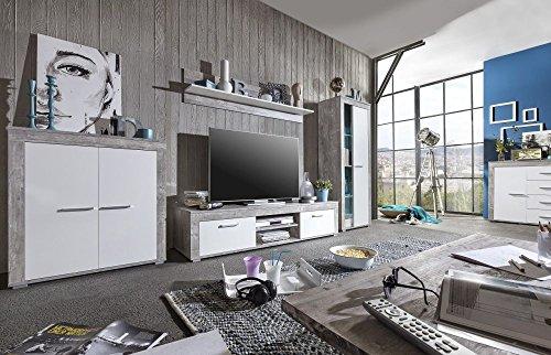 """Wohnwand """"Leo"""", Betonoptik, weiß, Melamin-Harz-Oberfläche, 300x 59x45cm, TV-Wand, Fernsehwand, Wohnzimmerwand"""