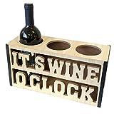 Portabottiglie 'Its Wine O Clock' in legno, 33,5 x 12 x 17 cm, stile vintage, accessorio per vino, decorazione da tavolo