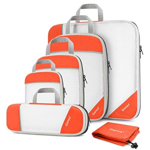 Gonex Organizador para Maletas Viaje Equipaje, Portatrajes Bolsas de Embalaje Almacenaje para...