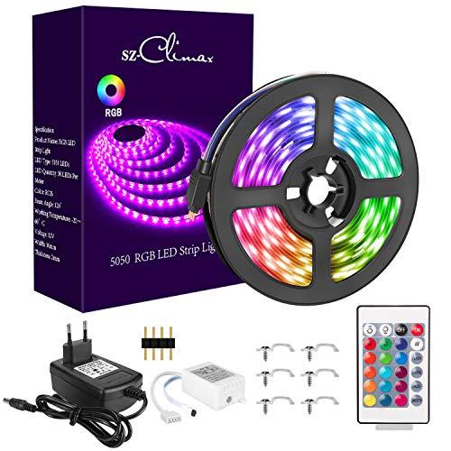 5M RGB LED Strip, LED Streifen 150 LEDs Lichtband, 12V 3A Farbwechsel LED Streifen mit Fernbedienung, Netzteil Controller, Selbstklebend 5050 LED Band für Zimmer, Weihnachten Party Deko
