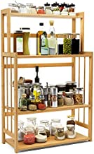 4-Tier Standing Spice Rack LITTLE TREE Kitchen Bathroom Countertop Storage Organizer, Bamboo Spice Bottle Jars Rack Holder with Adjustable Shelf, Natural Bamboo Color