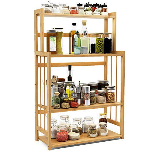 4-Tier Standing Spice Rack LITTLE TREE Kitchen Bathroom Countertop Storage Organizer Bamboo Spice Bottle Jars Rack Holder with Adjustable Shelf Natural Bamboo Color