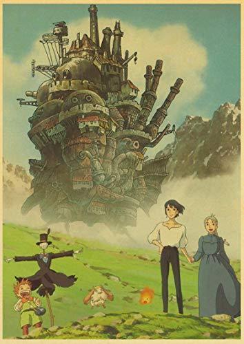 sanzhisongshu Japanese Anime Set Posters Miyazaki Hayao Cartoon Poster For Home Room Decor Prints Retro Wall Stickers A80 50X70Cm