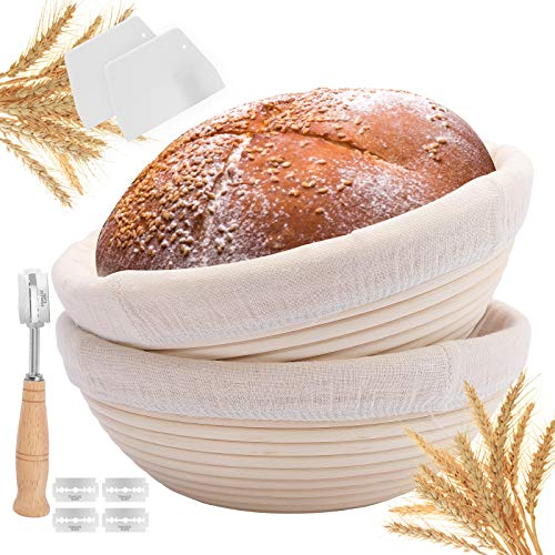 Bread Proofing Basket 2 Pack, 9 Inch Round Bread Baskets with Bread Lame + Dough Scraper + Linen Liner + Dough Scraper for Professional & Home Bakers