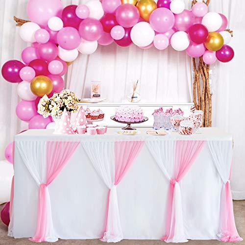 NSSONBEN Falda de mesa de tul rosa blanco para faldón de mesa con tutú mullido, falda de mesa para baby shower, cumpleaños, boda, despedida de soltera, decoración de mesa (3 yardas/275 cm x 77 cm)