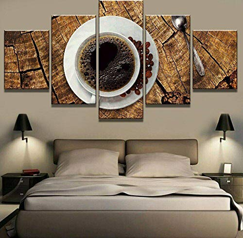 GSDFSD 5 Piezas Modernos Mural Frijol de Taza de café Cuadro en Lienzo,impresión artística,único,Pasillo Decor Pared Cuadro Carteles Innovador