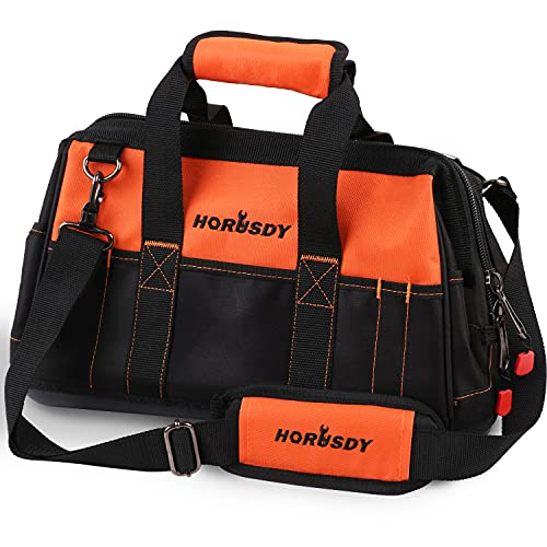 HORUSDY 16-inch Wide Mouth Tool Bags for Men, Wear-Resistant Base, Waterproof, Pockets for Tool Storage