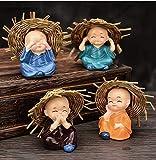 Natali Set of 4 Baby Hat Monk Buddha Idols Showpiece - Car Dashboard-Home Decor