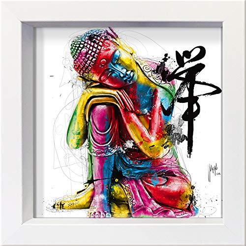International Graphics Gerahmte Postkarte - MURCIANO, Patrice - ''Buddha'' - 16 x 16 cm - weißer Rahmen