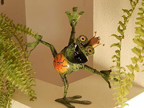 Trendshop-online Froschkönig Frosch aus Metall Gartenskulptur Gartenfigur Gartendeko 24 cm Eisen Blechfigur