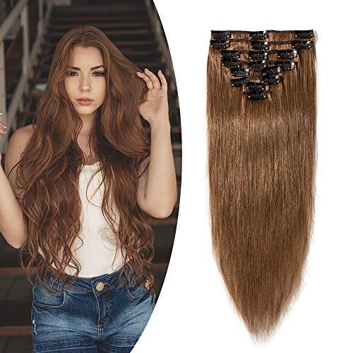 Extension a Clip Cheveux Naturel Type Fin - Rajout Vrai Cheveux Humain - 8 Bandes (#06 Châtain clair, 25 cm (50 g))