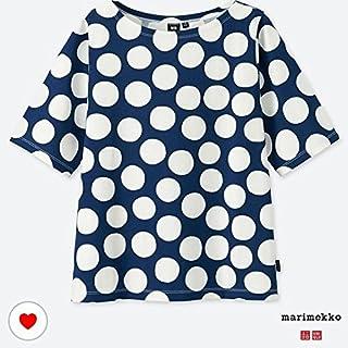 XXL ユニクロ マリメッコ グラフィックT Tシャツ ネイビー×白 ドット uniqlo marimekko オンライン 水玉