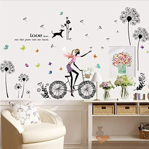 SIUWY Cartoon Wall Sticker Dandelion Biker Girl Puppy Butterfly Decoration Girl Room Sticker DIY Removable Kids Bedroom Wallpaper