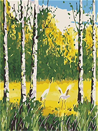 Painting By Numbers For Adults - Kids Painting Set Painting By Numbers, Golden Autumn Crane Painting Digital Oil Painting Canvas Kits - 40X50Cm Wooden Frame