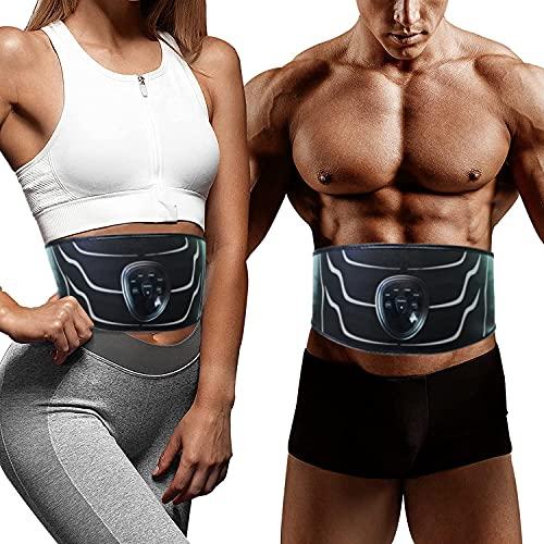 Electroestimulador Muscular Abdominales,Electroestimulador Muscular,Abdominales Cinturón,EMS Estimulador Mmuscular con USB,6 Modos de Ejercicio,Adecuados para Hombres y Mujeres