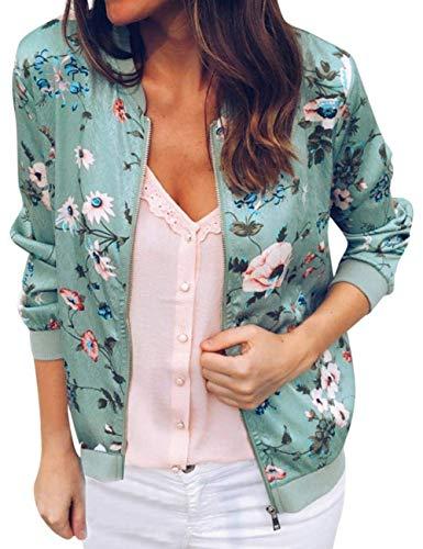 Women Casual Zipper Floral Bomber Jacket Lightweight Baseball Jacket Long Sleeve Outwear Coats For Women