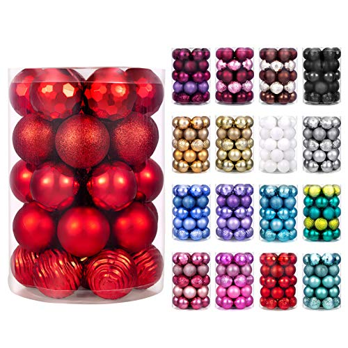 "XmasExp 60mm/2.36"" Christmas Ball Ornaments Shatterproof Christmas Ornaments Set Decorations for Xmas Tree Balls - 34ct (2.36'', Red)"