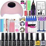 Shellac GEL nail polish varnish shellac Nail Extensions Kit Manicure Kit Set of 36/48/72w Nail Lamp12/8 Colors Nail Polish Gel Nail Polish Nail set, 36w choose 8 colorgel nail kit