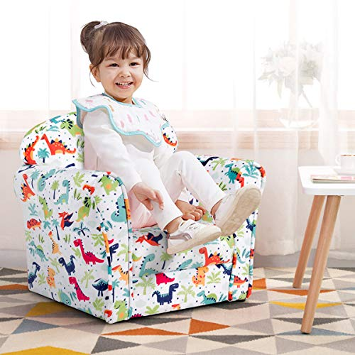 LDAILY Kids Sofa, Children s Sofa with Dinosaur Pattern, Toddler Furniture Armrest Chair, Baby Sofa Chair with Sturdy Wood Construction, Cartoon Character, Boys & Girls, Ideal for Bedroom, Living Room