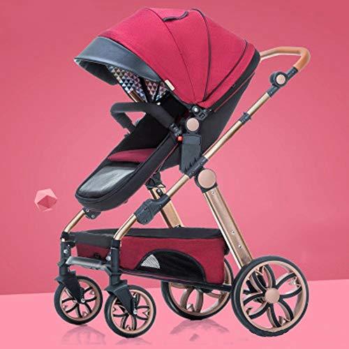 ZhiGe Kinderwagen sport Hoch-Sicht Kinderwagen leichte faltbare reversible vierrädrige Auto der Kinder Regenschirm